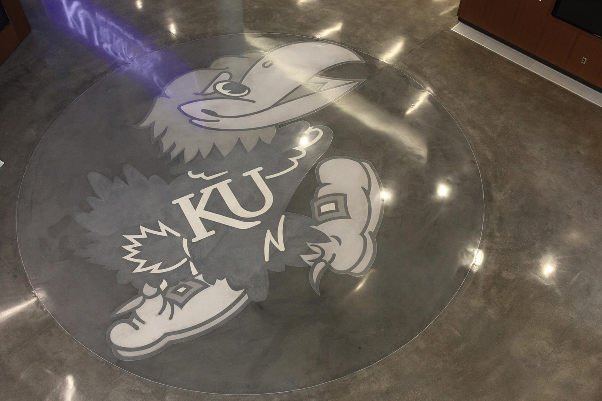 Giant Jayhawk on the atrium floor in Capitol Federal Hall