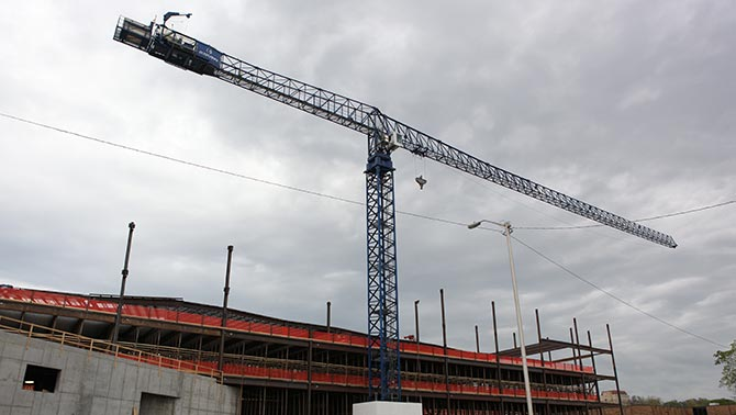 Tower crane erected